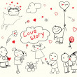 Royalty-Free Stock Imagem Vetorial: Valentine\\\'s Day Love Story