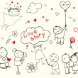 Valentine\'s Day Love Story — Stockvectorbeeld