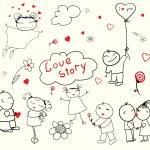 Valentine's Day Love Story — Stock Vector