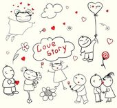 Valentine's Day Love Story — Vector de stock