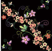 Flowers on a black background — Stock Vector