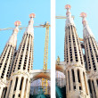 Sagrada Familia Church postcard, 2 diferent pieces — Stock Photo