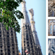 Sagrada Familia Church postcard, diferent pieces — Stock Photo