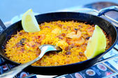 Seafood Paella in a Paella Pan, outdoor photo — Stock Photo
