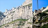 Widok na klasztor montserrat w hiszpanii z kolejką linową żółty — Zdjęcie stockowe