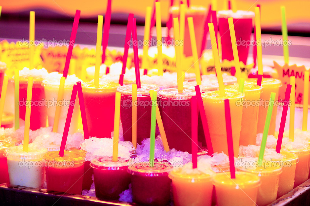 Multicolor cold fruit juices in ice, La Rambla Barcelona, La Boqueria  Stock Photo #9399674