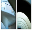 Casa Batllo interior postcard, white corridor, spiring stairs - Stock Photo