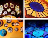 Casa Batllo interior postcard, 4 pieces of mosaic and ornaments — Stock Photo