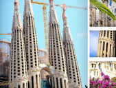 Sagrada Familia Church postcard, diferent pieces — Photo