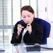 Playing on private mobile phone — Stock Photo #8791215