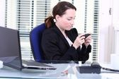 Private sms at Work — Stock Photo