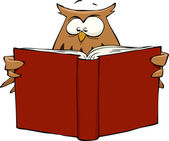 Owl with book — Stock Vector