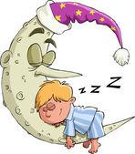 Pojken sover — Stockvektor