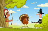 Hunting for turkey — Vector de stock