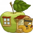 Apple house — Stock Vector