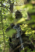 Soldier camouflage Airsoft — Stock Photo