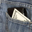 Money pocket jeans — Stock Photo