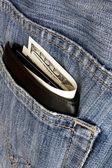 Money pocket jeans — Stock Photo