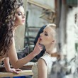 Two beauty women - be quiet — Stock Photo