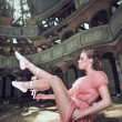 Ballet dancer posing on church - Stock Photo