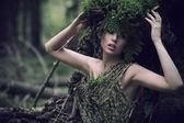 キャッスルズ ドレスを着ている女性の肖像画 — ストック写真