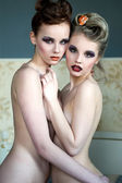 Two nude beauty women — Stock Photo