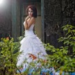 Stock Photo: Young woman wearing wedding blue dress