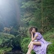 Cute woman in nature scenery - Stockfoto