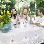 Друзья, имеющих хорошее время в летнем саду — Стоковое фото