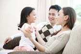 Happy Asian Family Playing — Stock Photo