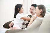 Happy Asian Family Playing — Stock Photo