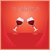 Carta di invito rosso vettoriale. — Vettoriale Stock