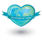 Vector ecological care, heart symbol — Cтоковый вектор
