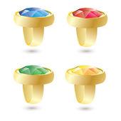 Vector geïsoleerd gouden ringen met kleur edelstenen — Stockvector