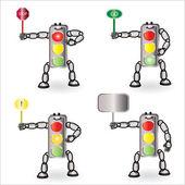 Vector traffic light figure set — Stock Vector