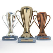 3D rendered Trophy Cup Set — Stock Photo