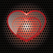Royalty-Free Stock Vector Image: Vector Glass Heart  with red frame on metal background