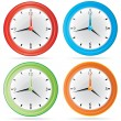 Vector Isolated Color Wall Clock Set — Stock Vector