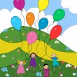 Stock Vector: Children with balloons