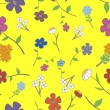 Vector de stock : Yellow Floral Seamless