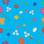 Blue Floral Seamless — Stock Vector