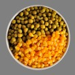 Stock Photo: Corn and peas on grey