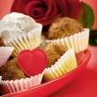 Valentine chocolate truffles - Stock Photo
