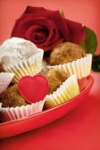 Valentine chocolate truffles — Stock Photo