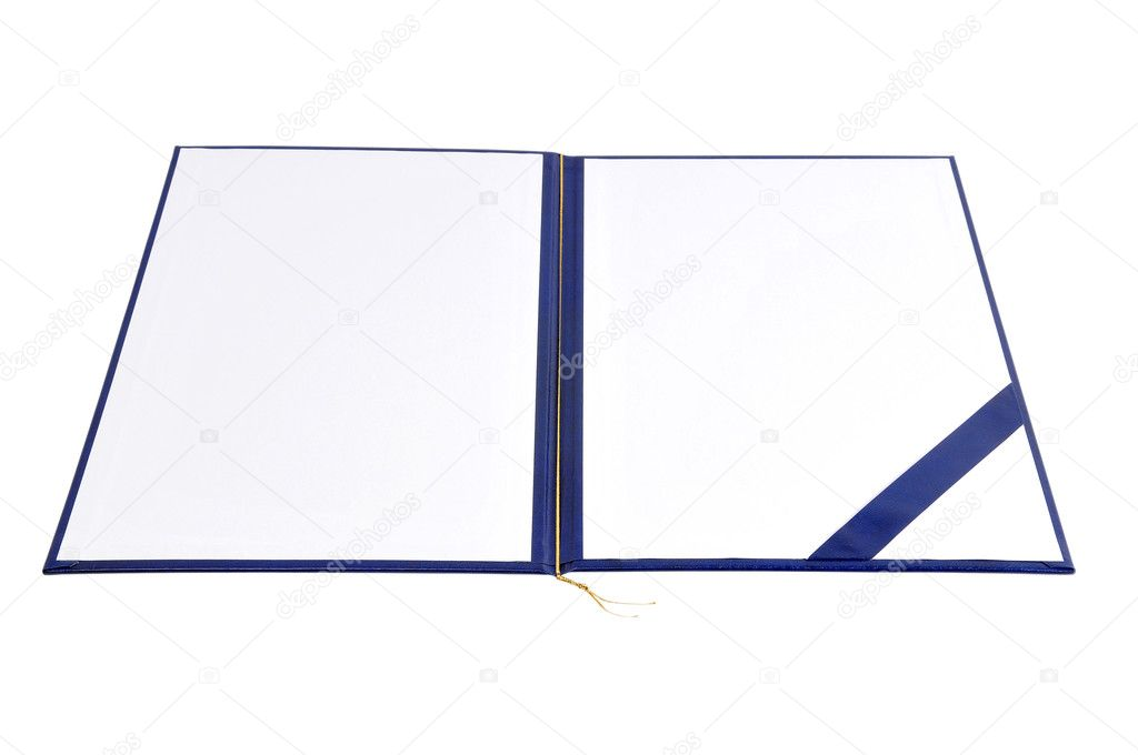 Diploma cover with white copy space, isolated on white — Stock Photo #8739327