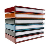Stack of colorful leather note books — Stock Photo