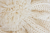 Beige knitted cap — Foto Stock