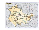 Thüringen als Umgebungskarte in orange — Stock Vector