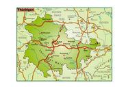 Thüringen Umgebungskarte bunt — Stock Vector