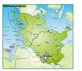 Schleswig-Holstein Umgebungskarte uebersicht — Stock Vector